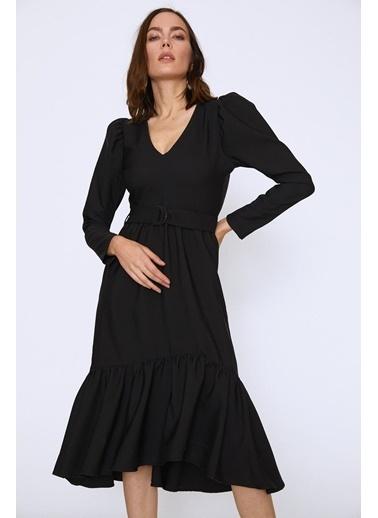 Quzu Karpuz Kol V Yaka Midi Boy Elbiseı Siyah